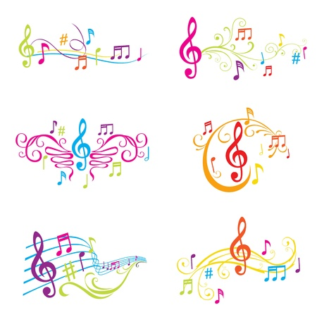 treble clef: Set of Colorful Musical Notes Illustration - in vector Illustration
