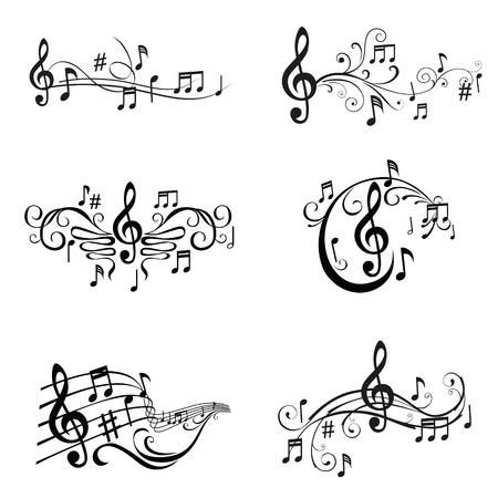 coro: Conjunto de ilustraciones de las notas musicales - en el vector