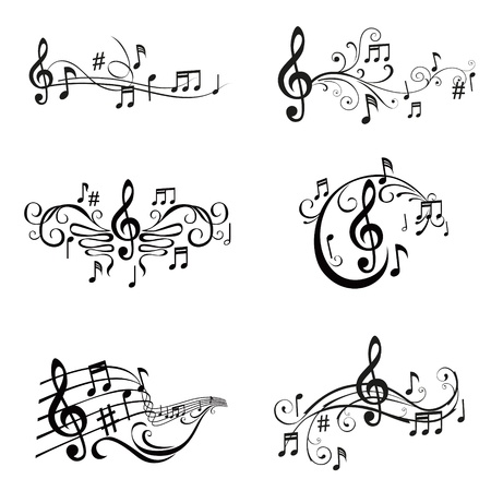 Conjunto de ilustraciones de las notas musicales - en el vector Ilustración de vector