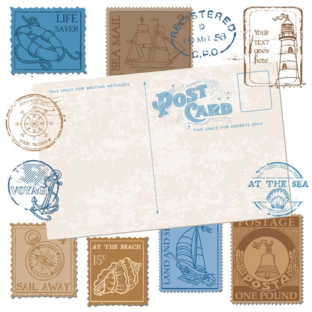 high sea: Postcard with Retro SEA Stamps - High Quality -  for design and scrapbook in vector