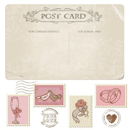 postal vintage: Postal de la vendimia y sellos de correos - para el dise�o de la boda, invitaciones, felicitaciones, �lbum de recortes Vectores