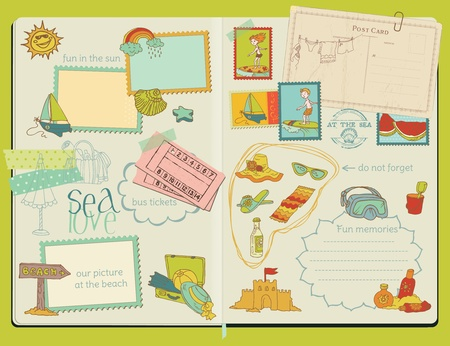 Vector Scrapbook Design Elements - Summer Beach Set - hand drawn in notepad Vector