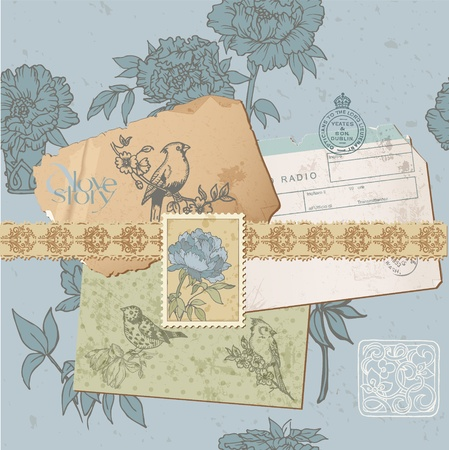 Scrapbook design elements - Vintage Bird and Peony Set - in vector Vector