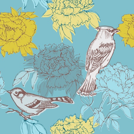 Birds and Flowers - seamless pattern in vector Vector