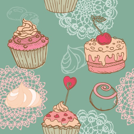 Seamless Background with Cakes, Sweets and Desserts - in vector Vetores