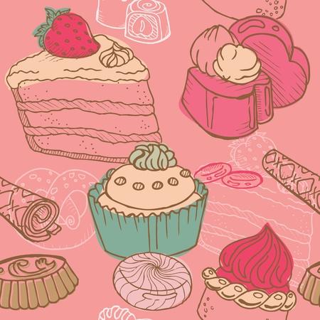 와플: 케이크, 과자 및 디저트와 함께 완벽 한 배경 - 벡터