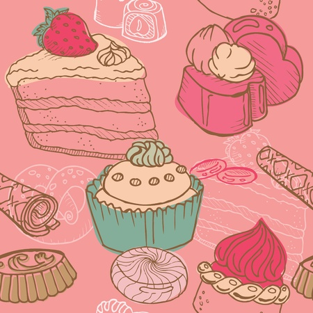 layout strawberry: Seamless Background with Cakes, Sweets and Desserts - in vector