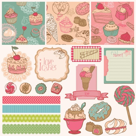 layout strawberry: Scrap set with Cakes, Sweets and Desserts Illustration