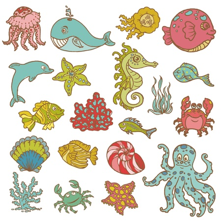 Marine life doodles - Hand drawn collection in vector Illustration