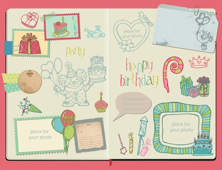 birthday cupcakes: Vector Scrapbook Design Elements - Happy Birthday Set -  hand drawn in notepad Illustration