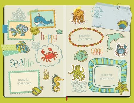 ostra: Elementos de dise�o vectorial bloc de notas - Juego de la vida marina - mano dibujada en el bloc de notas