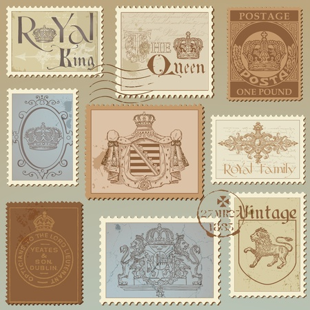 Set of Vintage Royalty Stamps - High Quality -  in vector Vector