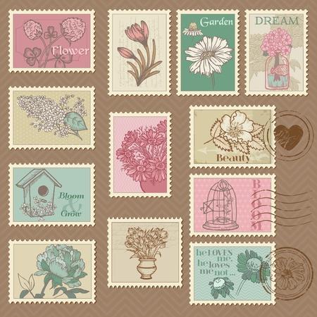 postcards: Retro Flower Postage Stamps - for wedding design, invitation, congratulation, scrapbook - in vector