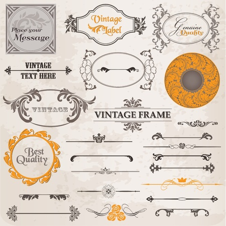 Vector Set: Calligraphic Design Elements and Page Decoration, Vintage Frame collection with Flowers Stock Vector - 13101905