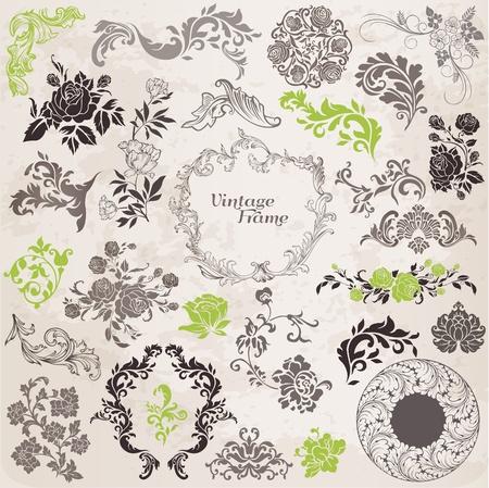 Vector Set: Elementos de dise�o caligr�fico y Decoraci�n p�gina, la recopilaci�n marco del vintage con flores Vectores