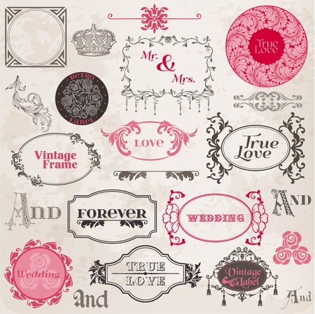 marriage ceremony: Wedding Vintage Frames and Design Elements - in vector