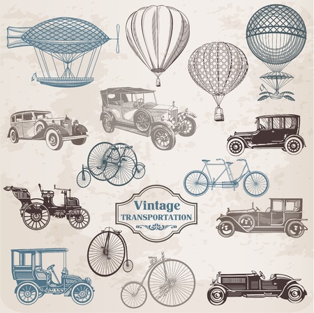 invention: Vector Set: Vintage Transportation - collection of old-fashioned illustrations