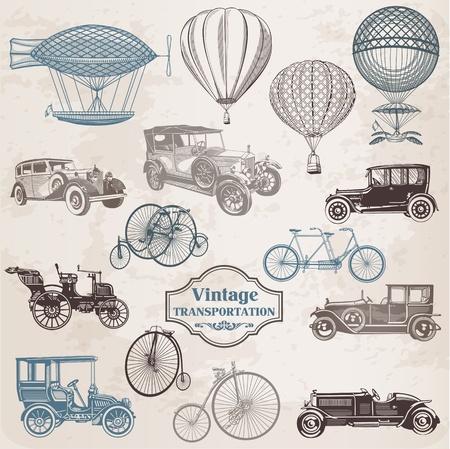 Vector Set: Vintage vervoer - collectie van ouderwetse illustraties