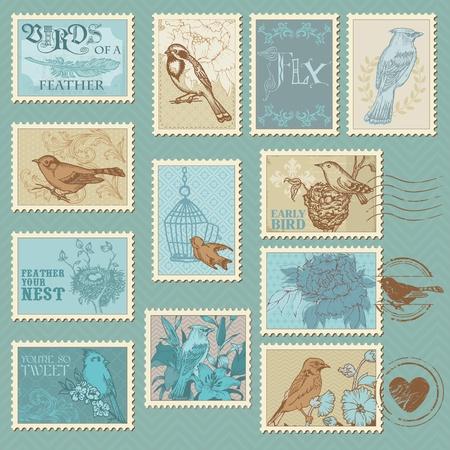 rubber stamp: Retro Bird Postage Stamps - for design, invitation, congratulation, scrapbook