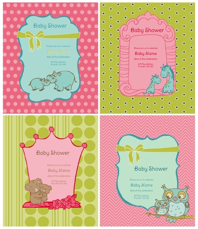 Set of Baby Shower Cards with place for your text in vector Vector