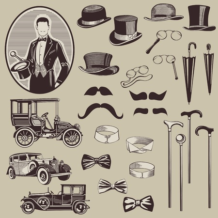 dandy: Gentlemens Accessories and Old Cars - vector set- High Quality