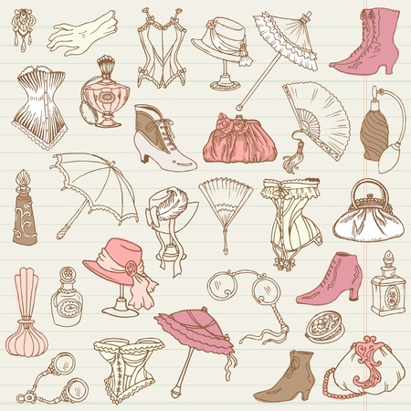 vintage clothing: Ladies Fashion and Accessories doodle collection - hand drawn in vector