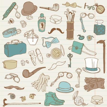 Akcesoria dżentelmeńską doodle kolekcja - wyciągnąć rękę w wektorze