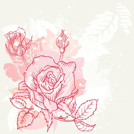 etched: Floral Roses Background - in vector Illustration