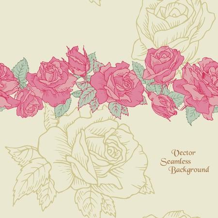 Flor de fondo sin fisuras - las rosas dibujadas a mano en vectores