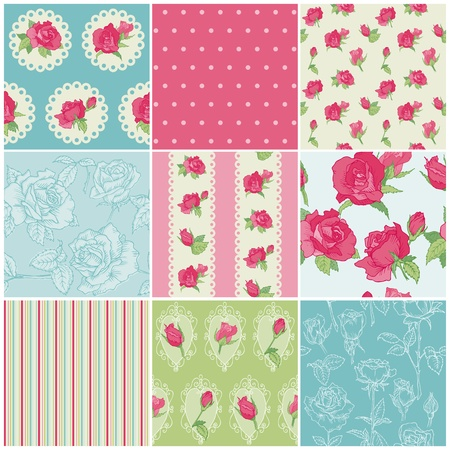 Set of Seamless Floral Rose backgrounds - in vector Vector