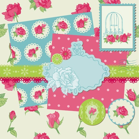 copybook: Scrapbook Design Elements - Rose Flowers in vector
