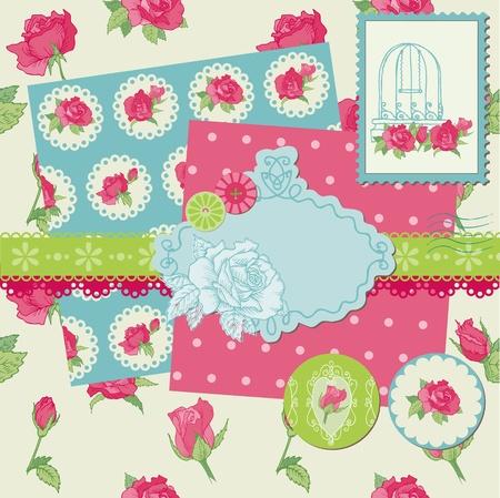 Scrapbook Design Elements - Rose Flowers in vector Vector
