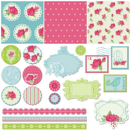 Scrapbook Design Elements - Rose Flowers in vector Vector