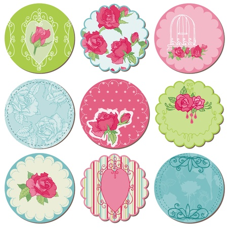 Scrapbook Design Elements - Tagd with Rose Flowers in vector Vector