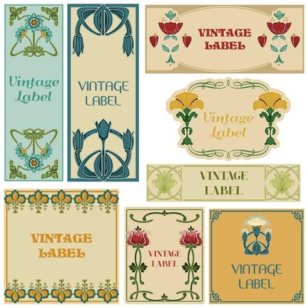 art deco: Vintage Style Labels Set  Illustration