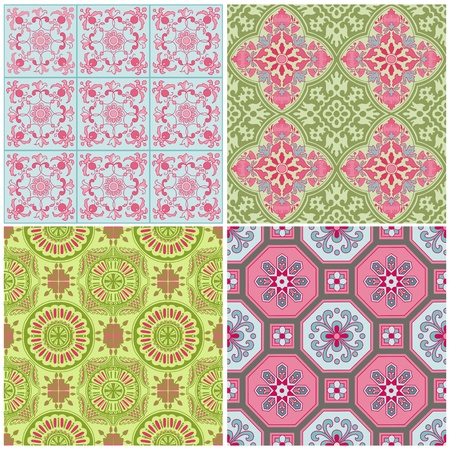 stationary set: Seamless Vintage Background Collection - Victorian Colorful Tile Illustration