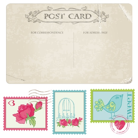 Vintage Postcard and Postage Stamps - for wedding design, invitation, congratulation, scrapbook Stock Vector - 13275993