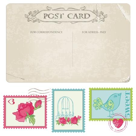 Postal de la vendimia y sellos de correos - para el diseño de la boda, invitaciones, felicitaciones, álbum de recortes