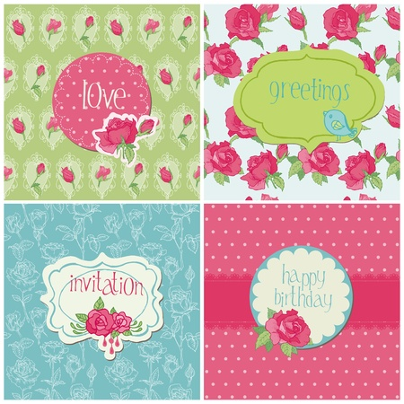 thank you card: Set of Colorful Cards with Rose Elements - for birthday, wedding, invitation, holiday in vector