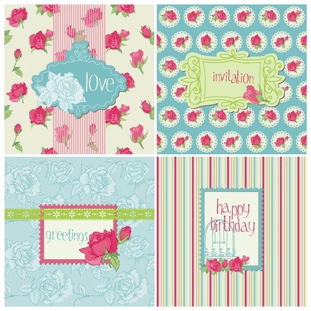 Set of Colorful Cards with Rose Elements - for birthday, wedding, invitation, holiday Vector