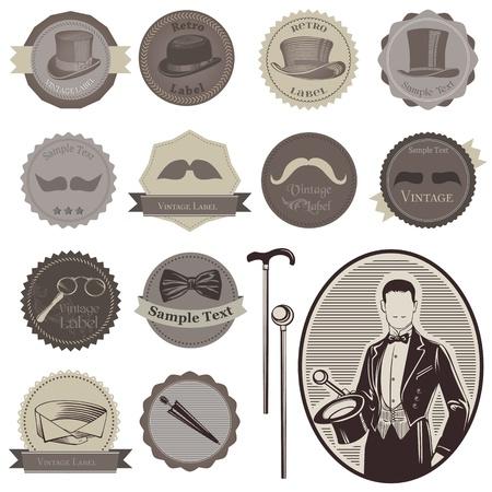 Akcesoria dżentelmeńskich Etykiety Ilustracje wektorowe