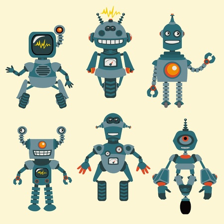 robot cartoon: Cute little Robots Collection  Illustration