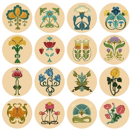 art deco background: Vintage Flowers Label Set