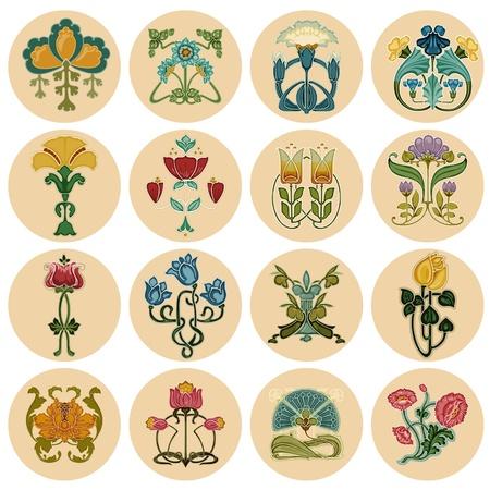 vintage newspaper: Vintage Flowers Label Set