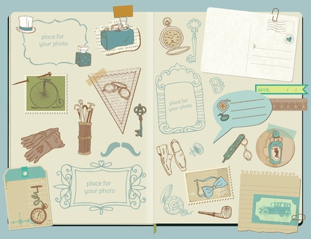 Scrapbook Design Elements - Gentlemens Accessories doodle collection - hand drawn Vector