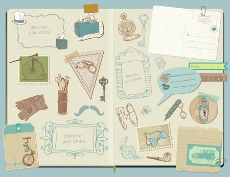 dandy: Scrapbook Design Elements - Gentlemens Accessories doodle collection - hand drawn