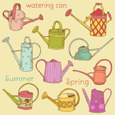 watering pot: Watering Can Collection - Scrapbook design elements  Illustration