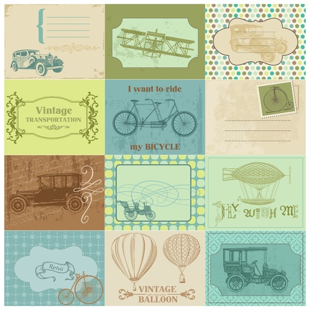 Scrapbook Paper Tags and Design Elements - Vintage Transportation Vector