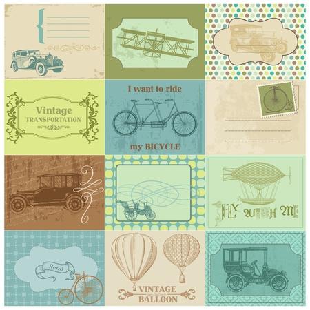 timbre voyage: Étiquettes en papier Scrapbook et éléments de conception - Transports Vintage