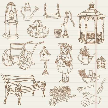 Gardening Hand Drawn Doodles - for scrapbook Vector